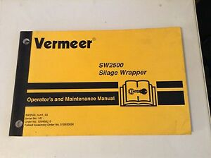 105400l14 Is A New Operators Manual For A Vermeer Sw2500 Silage Wrapper