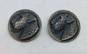Thomae Co Antique Pair Sterling Silver Terrier Dog Buttons