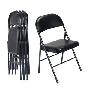 4pcs Black Commercial Folding Chairs Upholstered Padded Seat Metal Home Office
