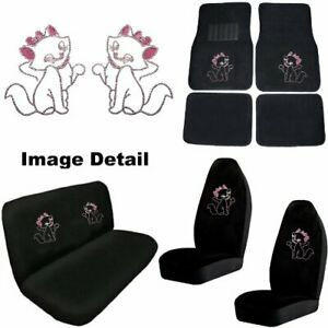 Cute Kitty W Pink Bow Crystal Studded Rhinestone Floor Mats Seat Covers Combo