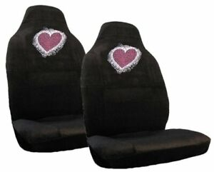 Red Heart Crystal Studded Rhinestone Seat Covers Pair