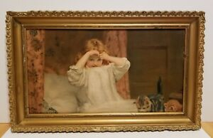 Antique Chromolithograph Girl Kittens Lithograph Gold Wood Wooden Frame
