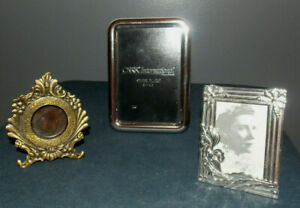 3 Small Vintage Filigree Pewter 1 1 2 X 2 Picture Photo Frame