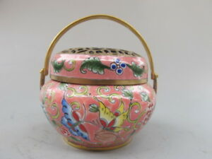 China Antique Bronze Cloisonne Flower Butterfly Handwarmer Incense Burners Pink