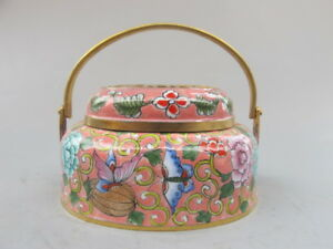 China Old Bronze Cloisonne Flower Butterfly Handwarmer Incense Burners Pink