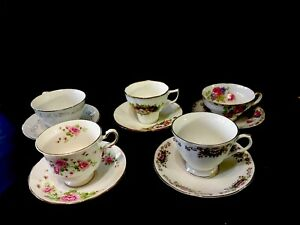 Vintage Lot Of 5 Bone China Tea Cup And Saucer Sets Made In England Japan
