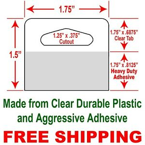 1 75 X 1 5 Durable Clear plastic hang Tabs With Heavy Duty Adhesive 60 Tabs