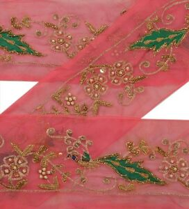 Antique Vintage Saree Border Hand Beaded Indian Craft Trims Lace Decor 1 Yd Pink