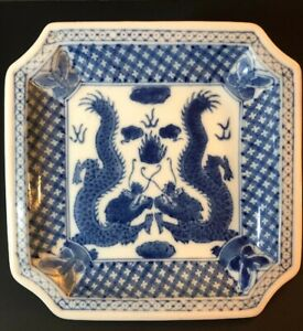Chinese Twin Dragon And Butterfly Blue And White Plate