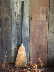 Antique Fireplace Or Witch S Broom Black Wood Handle 28 Thick Reeds Halloween