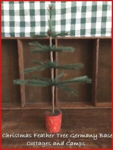 Primitive Style 14 1 2 Xmas Faux Feather Tree In Antique Germany Red Wood Base