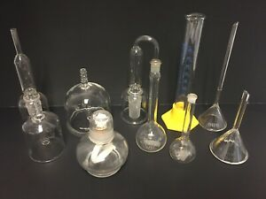 Vtg Lot Of 10 Misc Flasks Cylinders Beakers Tube Funnel Science Lab Apothecary
