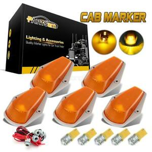 For Ford T10 3528 Amber Led Cab Roof Running Marker Lights 5pcs Set T10 Harness