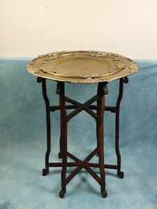 Brass Folding Chinese Japanese Anglo Indian Table 2 Trays Tea Coffee