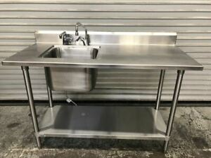 54 X 24 Work Table Sink Food Prep Station All Stainless Steel Nsf 9523