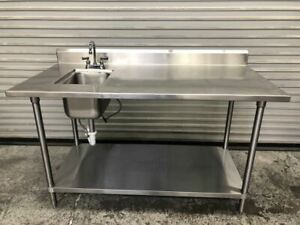 60 X 30 Work Table Sink Food Prep Station All Stainless Steel Nsf 9524