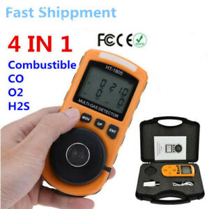 4 In 1 Gas Detector Co O2 H2s Lel Oxygen Lel Gas Monitor Analyzer Meter Us Stock