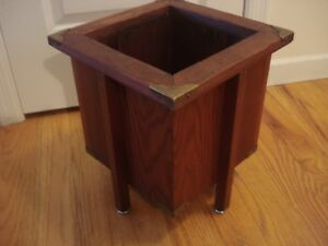 Antique Art Deco Mission Plant Stand Planter Brass Trim