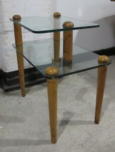 Gilbert Rohde Wood Glass 2 Tier End Table Mid Century Deco Side Herman Miller