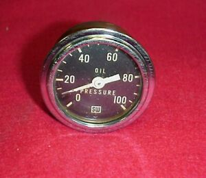 Vintage Stewart Warner Speedometer Oil Pressure Brass Back Scta Hot Rat Rod