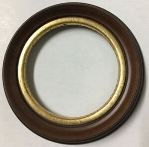 Vintage Decorative 6 In Round Antique Replicawood Picture Frame Gold Leafing X81