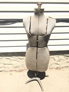 Vintage Dress Form Unbranded Gray Adjustable Mannequin Fabric Covered Metal Legs
