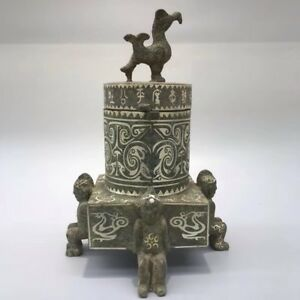 Chinese Antique Bronze Hand Made Silver Plating Bird Warehouse Home Decoration