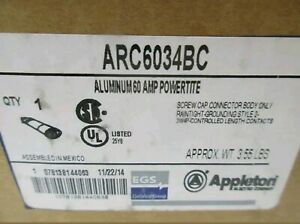 New In Box Appleton Arc6034bc 60 Amp Connector Body 4 pole 3 wire