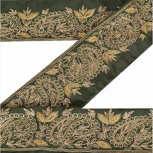 Vintage Sari Border Antique Hand Embroidered Indian Trim Sewing Green Lace