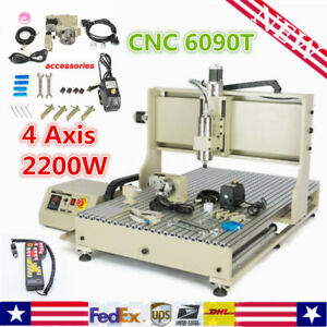 4 Axis 2200w Cnc 6090t Vfd Router Engraver Usb Engraving Milling Machine Drill