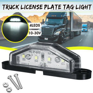 4 Leds Universal License Plate Tag Light Truck Trailer Boat Interior Step Lamp