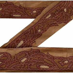 Sanskriti Sari Border Antique Hand Embroidered 1yd Indian Trim Sewing Brown Lace