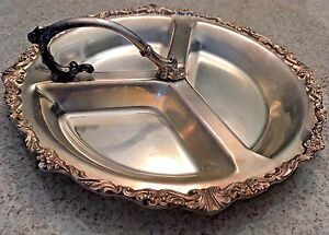 Vintage 60 S Sheridan Silverplate Divided 12 1 2 Serving Platter With Handle
