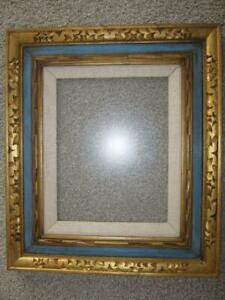 Vintage Large Hand Carved Wood Blue Gold Picture Frame 22 X 20 Mexico W Glass