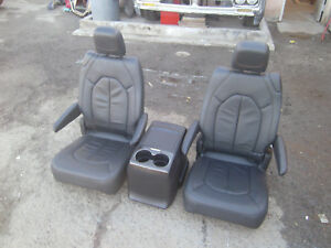 Heated Black Leather 2 Bucket Seats Console Hotrod Jeep Truck Van Bus Humvee