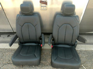 Heated Black Leather 2 Bucket Seats Hotrod Jeep Truck Van Bus Humvee