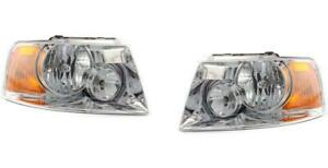 Chrome Headlights For Ford Expedition 2003 2004 2005 2006 Pair Left Right