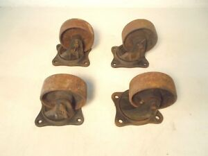 Antique The Fairbanks Company Cart Casters Cast Iron Wheels Set Of 4