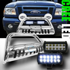 Fit 98 11 Ford Ranger Chrome Bull Bar Bumper Grill Guard 36w Cree Led Fog Lights