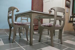 Chair Set Dining Sets Table Wood Metal Cladding Modern Vintage Home Ware Us426mf