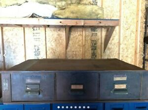 Vintage Metal Library Card File Cabinet