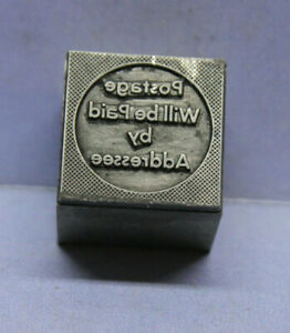Antique Printers Letterpress Lead Block Postage Will Be Paid By Addressee