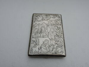 Stunning Antique Persian Qajar Islamic Solid Silver Figural Cigarette Case