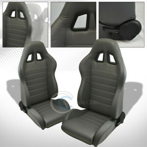 Universal Sp Gray Pvc Leather White Stitch Racing Bucket Seats slider Pair C01a