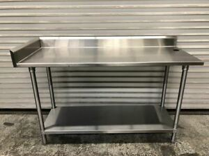 60 X 24 Work Food Prep Table W Back Splash Tabco Nsf All Stainless Steel 9535