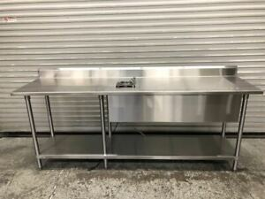 90 X 24 Work Food Prep Table With Water Well Stainless Steel Nsf Tabco 9539