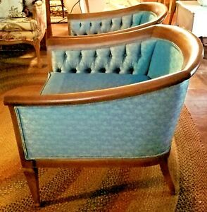 Vintage Widdicomb Mid Century Barrel Back Chairs Pair Cherry Frame Tufted