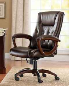 Leather Executive Desk Chair Office High Back Rolling Computer Soft Brown Black