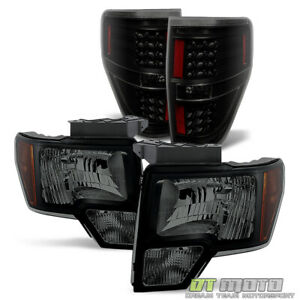 Black Smoke For 2009 2014 Ford F150 F 150 Headlights Led Tail Brake Lamps Lights