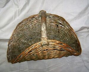 Antique Farm Fruit Flower Gathering Basket Heavy Wood Handle Old Bluegreen Paint